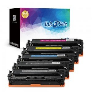 INK E-SALE Replacement for CB540A CB541A CB542A CB543A (125A) Black / Cyan / Yellow / Magenta Toner Cartridge 5Pack