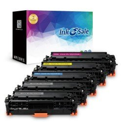 HP 304A CC530A Compatible Color Toner Cartridge 5 Pack (2Black, Cyan, Magenta, Yellow)